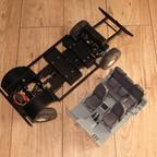 Eigenbau-Chassis mit Aufnahmen für Akku und Elektronik