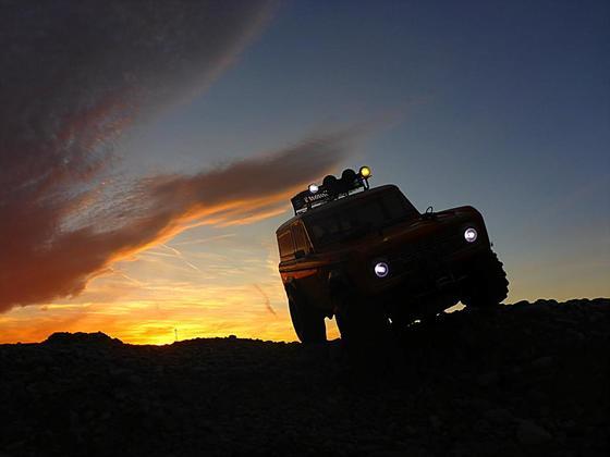 Mit dem Tamiya in den Sonnenuntergang