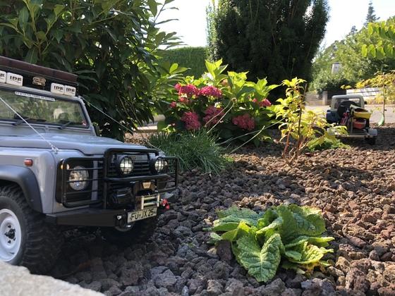 Defender und YJ Jeep im Garten